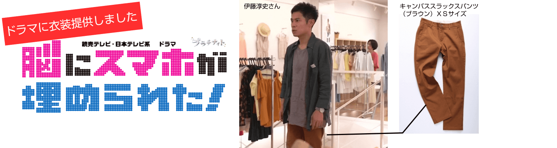 脳にスマホが埋められた主演伊藤淳史さんに衣装提供しました!